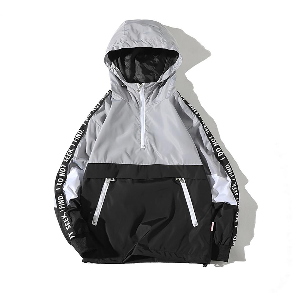 Men Spring Autumn Hooded Loose Large Size Pockets Jacket Coat gray_XL