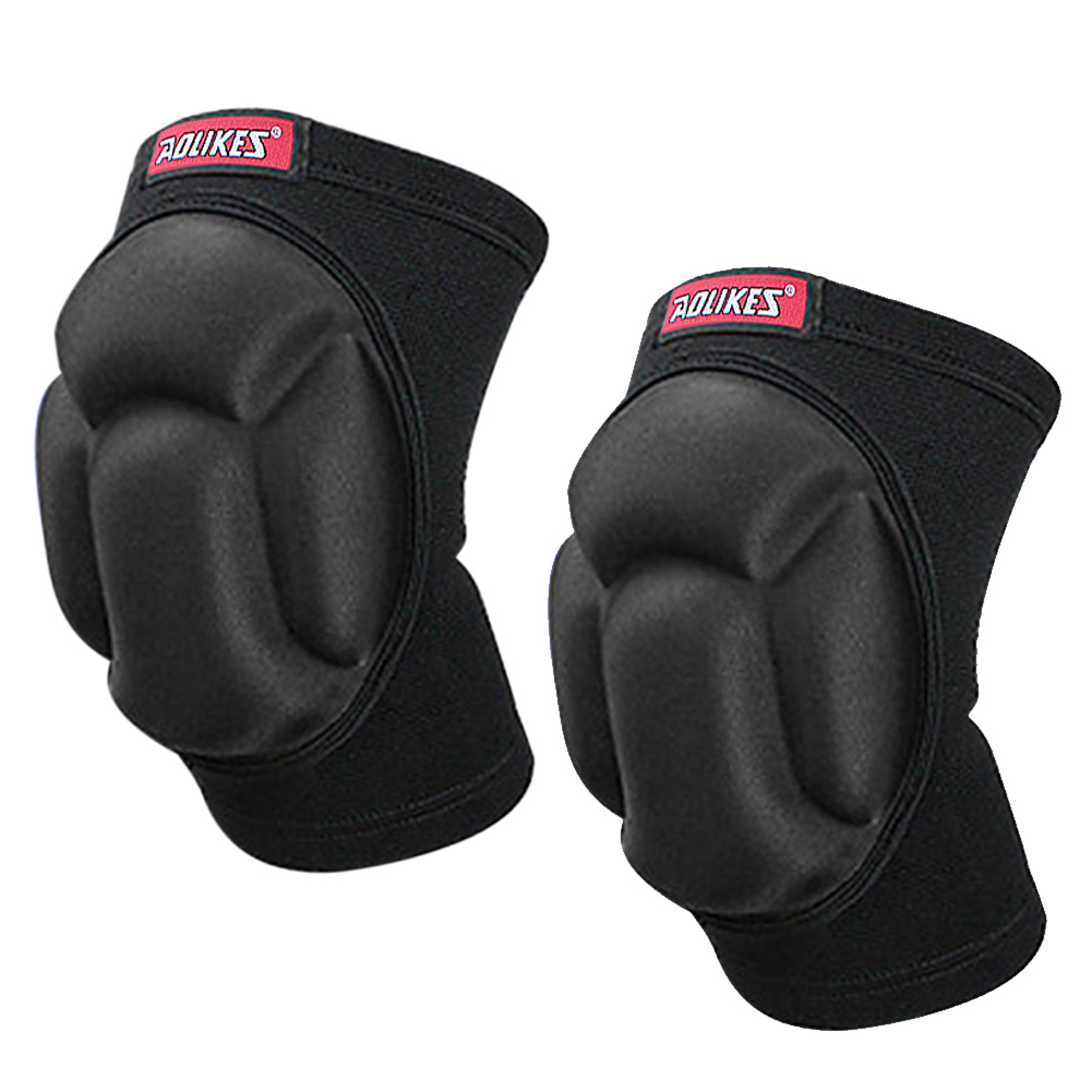 Knee Protector Sponge Thicked Football Volleyball Extreme Sports Ski Kneepad A-2 black pair