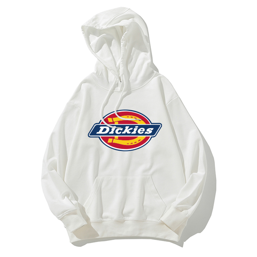 Men Women Hoodie Sweatshirt Thicken Velvet Dickies Loose Autumn Winter Pullover Tops White_M