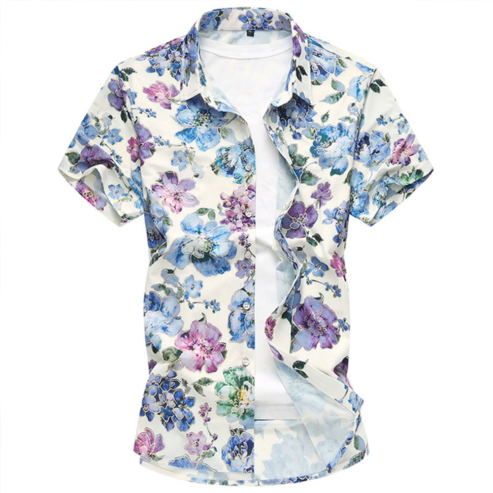 Men Hawaii Shirt Floral Print Short Sleeve Lapel Slim Beach Casual Summer Tops Plus Size As shown_2XL