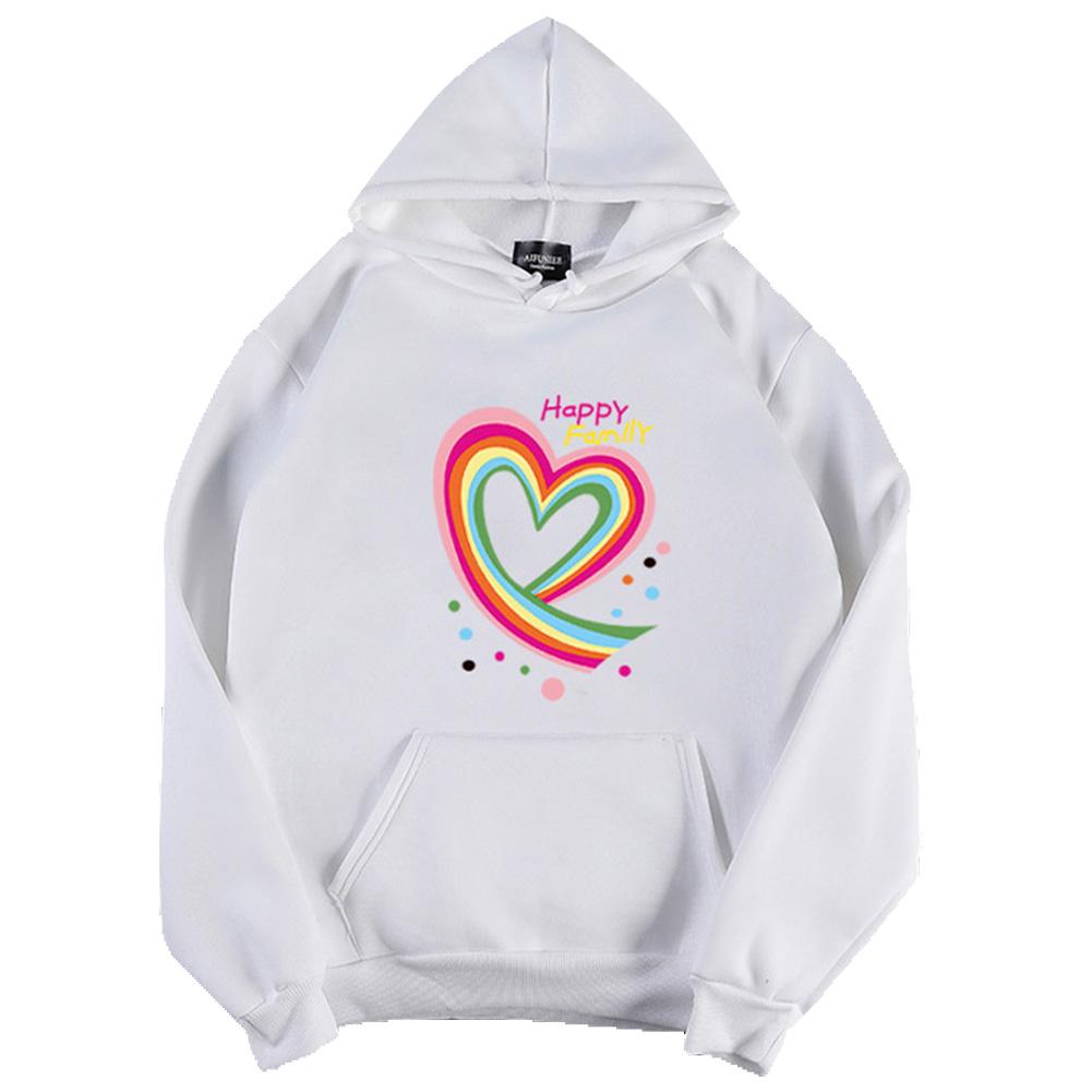 Men Women Hoodie Sweatshirt Happy Family Heart Thicken Loose Autumn Winter Pullover Tops White_S