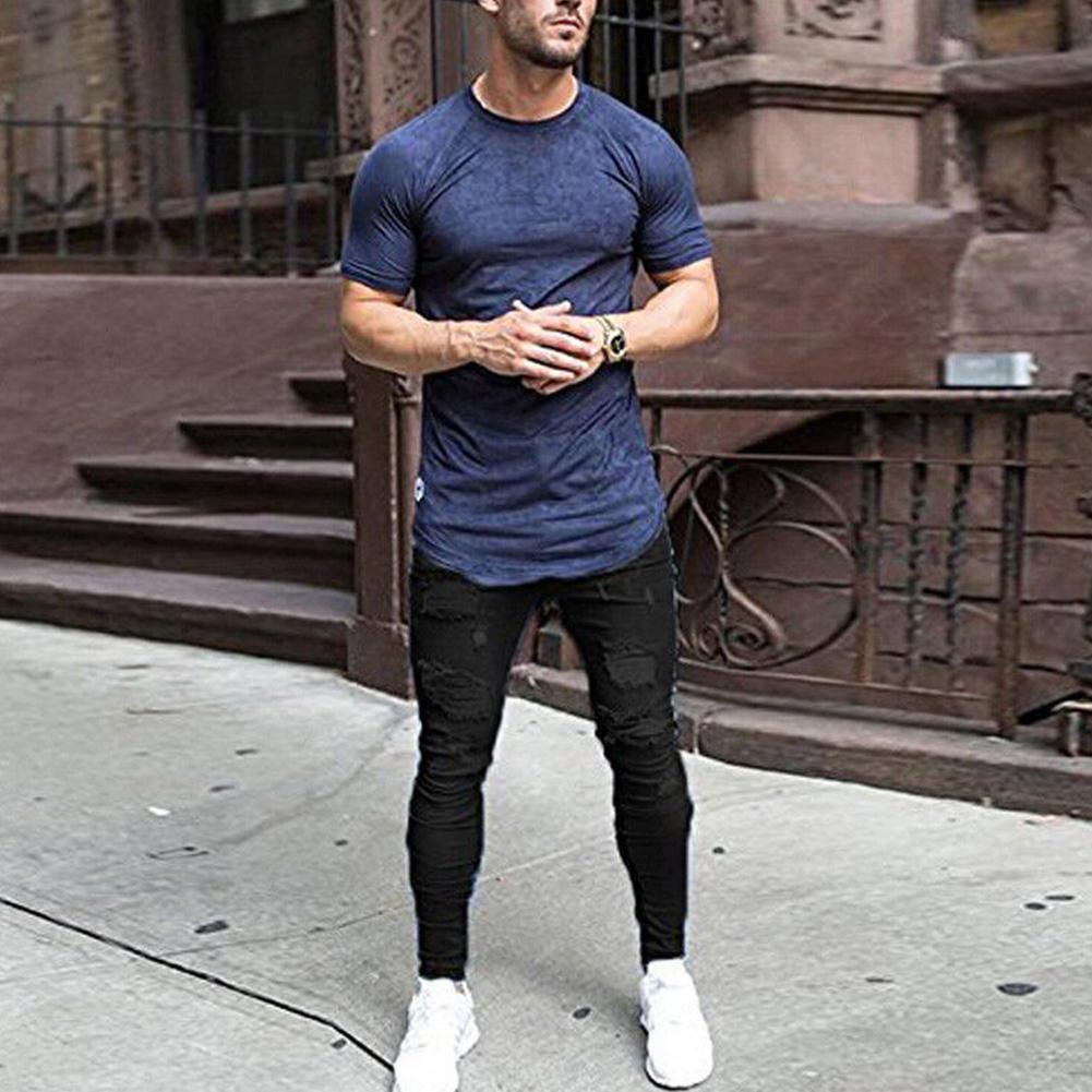 Men Fashion Slim Knee Broken Hole Jeans Pants black_XXL
