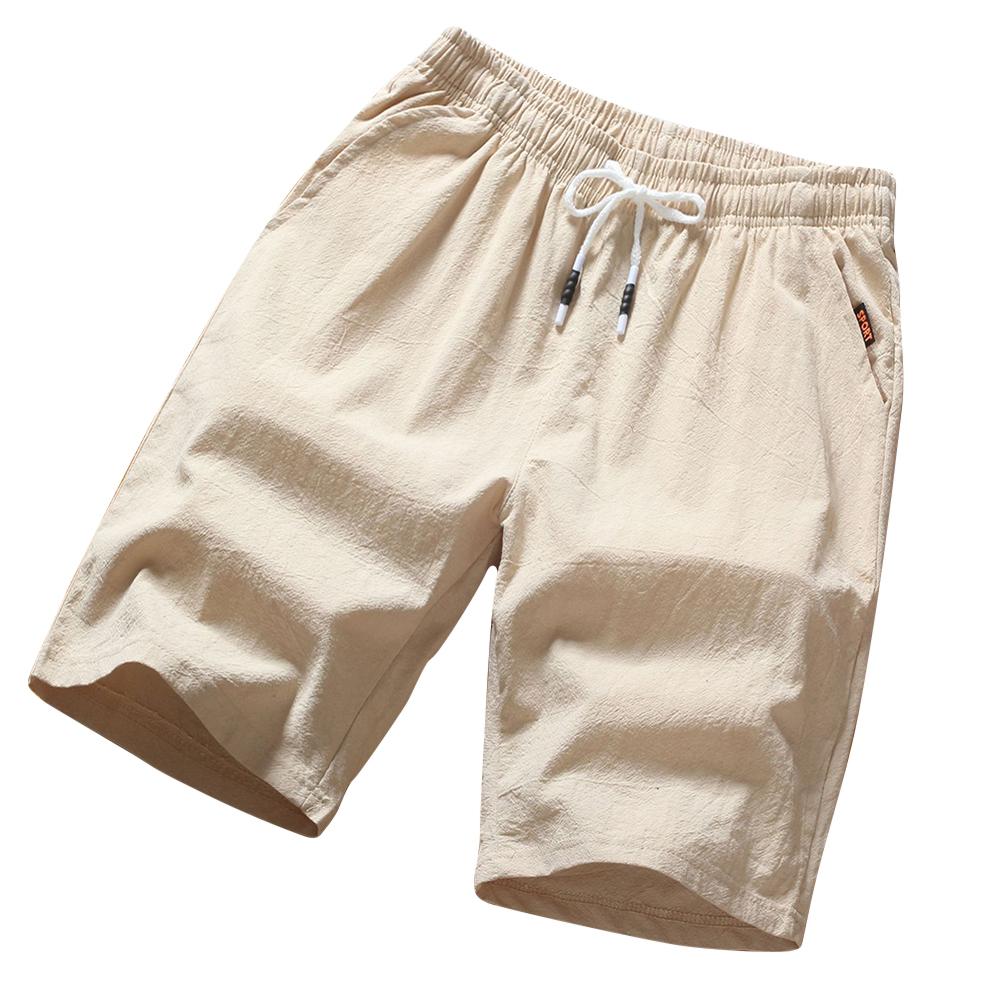 Men Soft Cotton Loose Casual Shorts Middle Length Pants Beige_L
