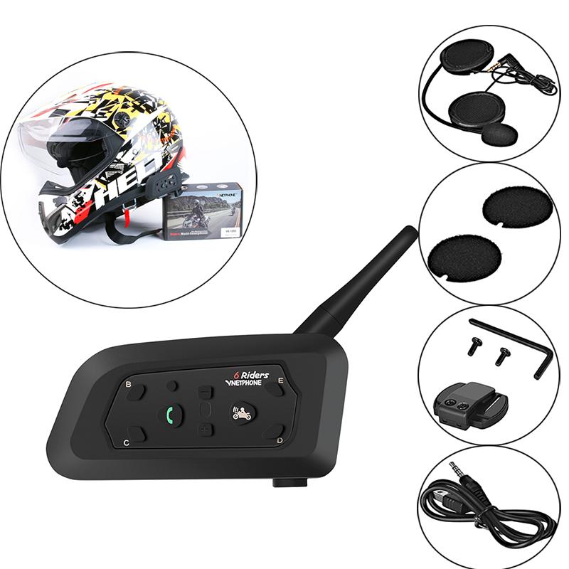 Motorcycle Helmet Bluetooth Walkie-talkie Bluetooth Intercom V6-1200 black_Double package