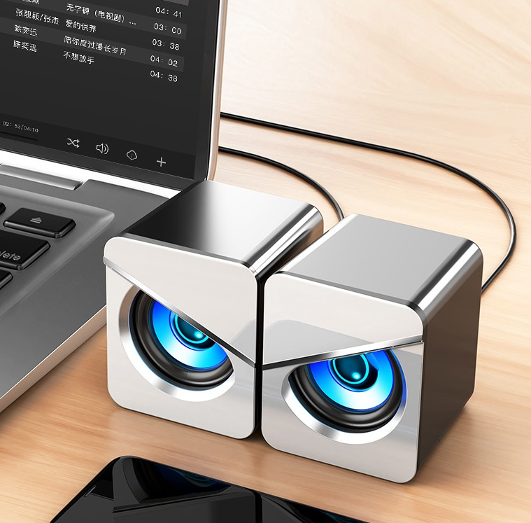 1 Pair Computer  Speakers Led Colorful Luminous Wired Gaming Mini Speaker Desktop Laptop Accessory White with light