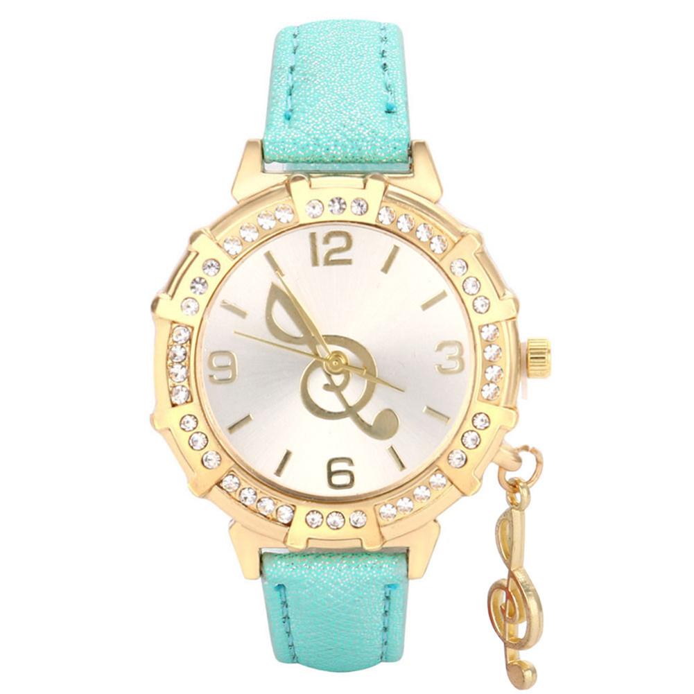 Women Fashion Diamante Watch with Note Shape Hanging Pendant mint