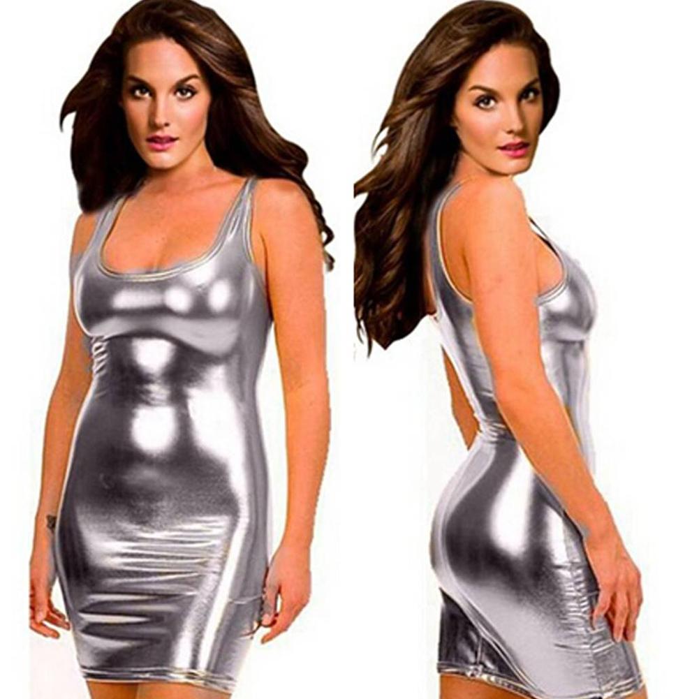 Lady Glossy Sling Dress Bodycon Sundress Sexy Lingerie Temptation Nightclub Stage Wear Silver_One size