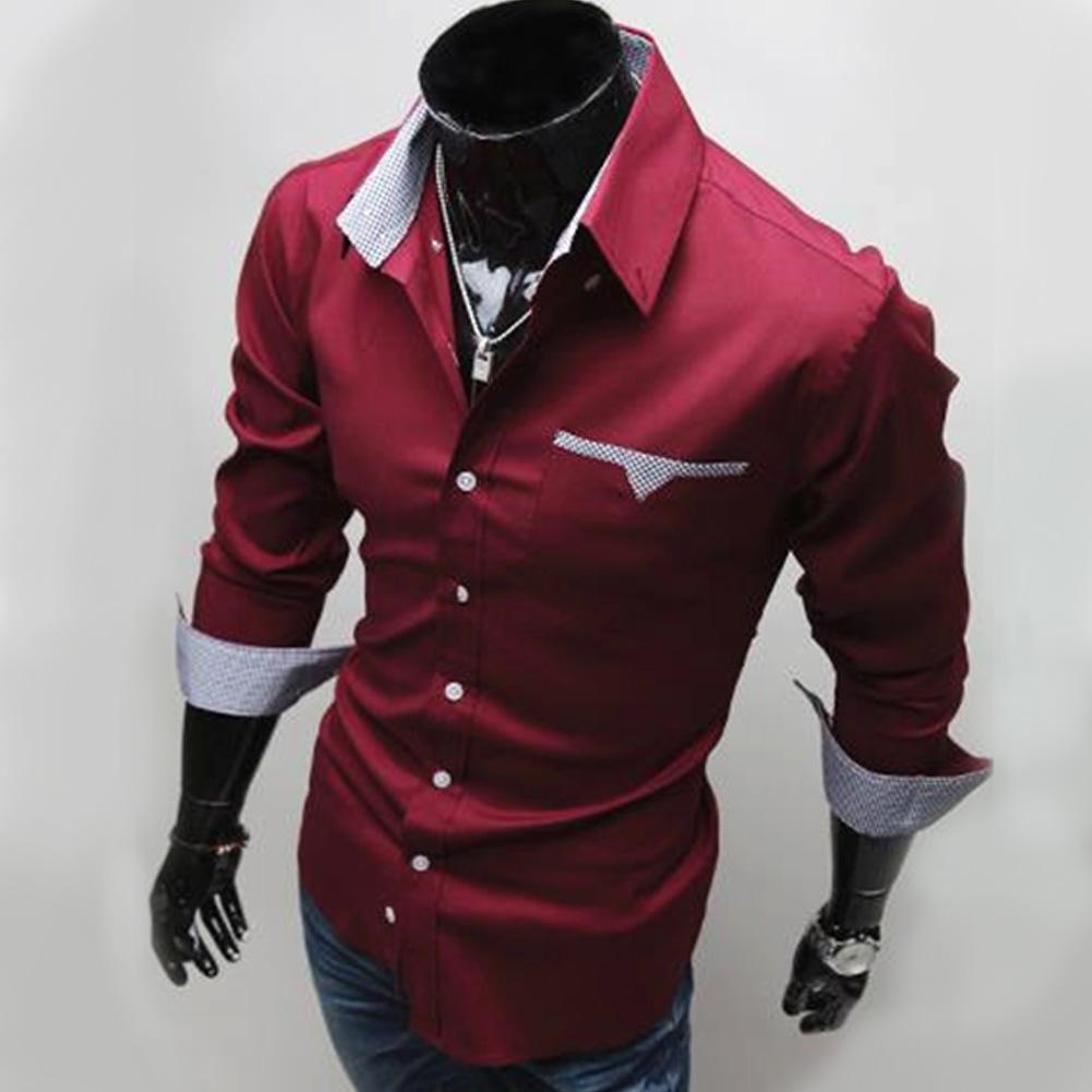 Men Long Sleeve Fashion Slim Casual Thin Plaid Shirt Red wine_XL