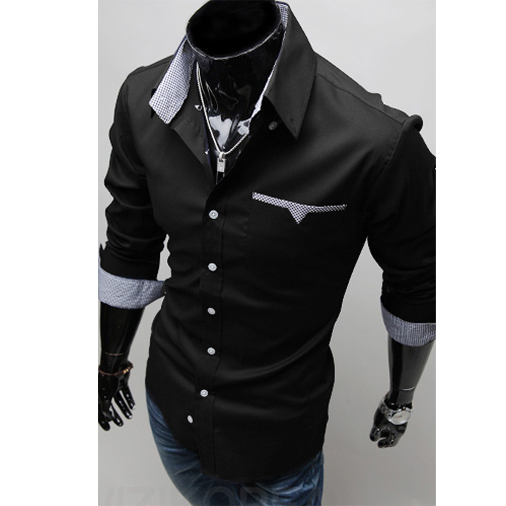 Men Long Sleeve Fashion Slim Casual Thin Plaid Shirt black_XL