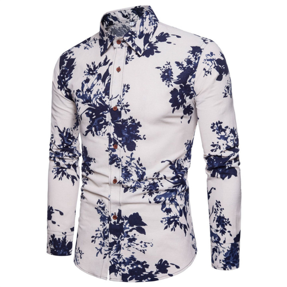 Single-breasted Shirt of Long Sleeves and Turn-down Collar Floral Printed Top for Man CS23 blue_M
