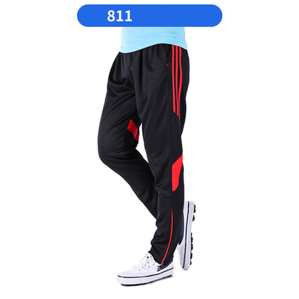 Men Fashion Athletic Training Pants Breathable Running Football Long Pants 811-red_L
