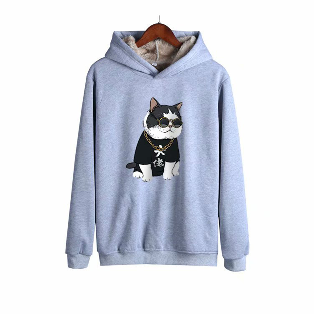 Men Autumn Winter Pullover Hooded Sweater Loose Long Sleeve Fleece Line Tops Hoodie 2#_XXL
