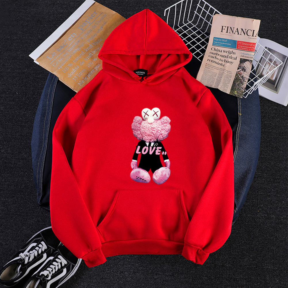 KAWS Men Women Hoodie Sweatshirt Love Bear Cartoon Thicken Autumn Winter Loose Pullover Red_XXXL