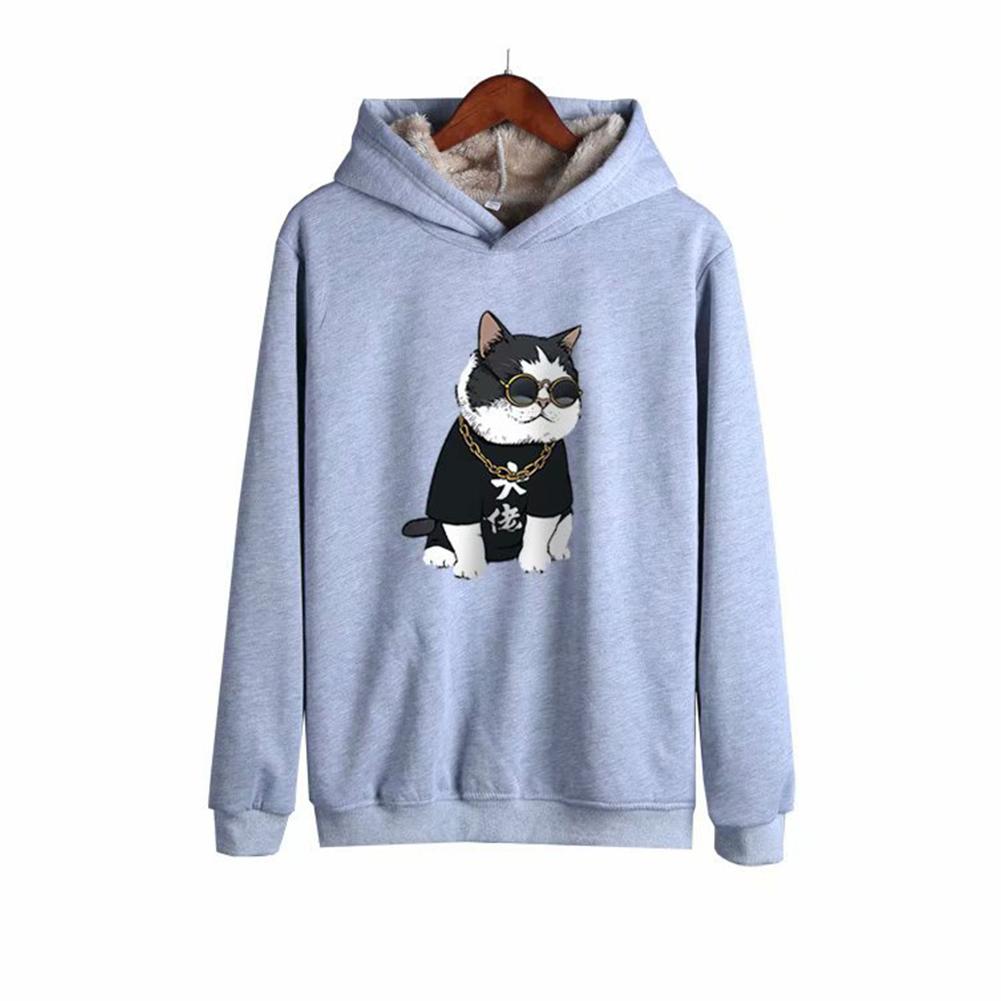 Men Autumn Winter Pullover Hooded Sweater Loose Long Sleeve Fleece Line Tops Hoodie 2#_XL
