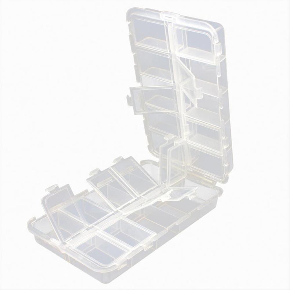 Portable Plastic Transparent Folding Fishing Lures Hook Bait Storage Box Case Container Transparent color_16.6 * 9.7 * 4.1 cm