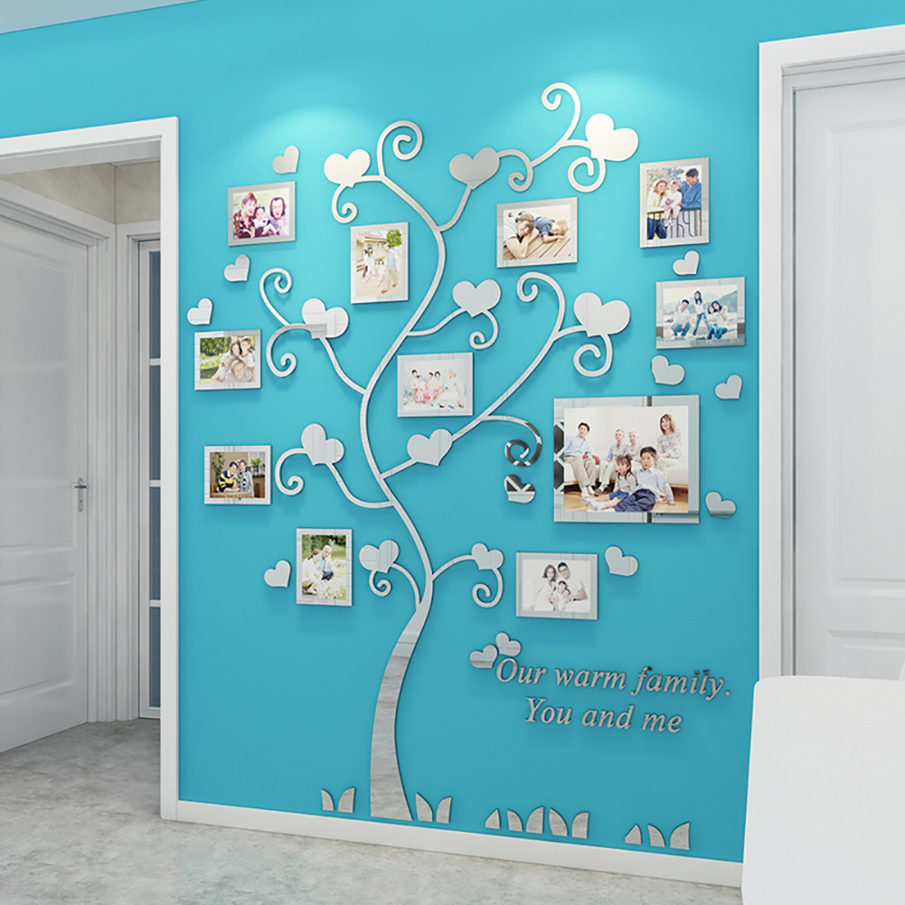 Wall Stickers Crystal Photo Frame Tree 3d Acrylic Living Room Bedroom Background Wall Decoration Silver_Medium 129*160cm