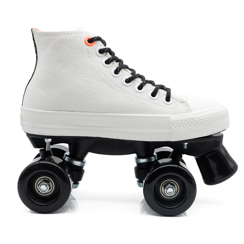 1 Pair Double-line Four-wheel Roller  Skates Canvas Skates Shoes Skating Accessories White + black non-flashing wheel_42