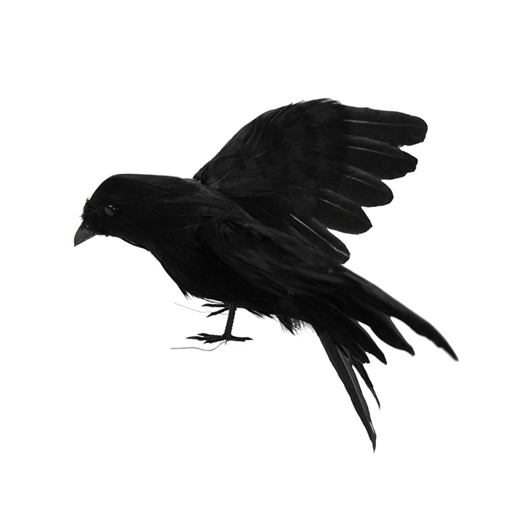 2Pcs Simulate Black Crow Shape Decorative Prop for Halloween 2pcs
