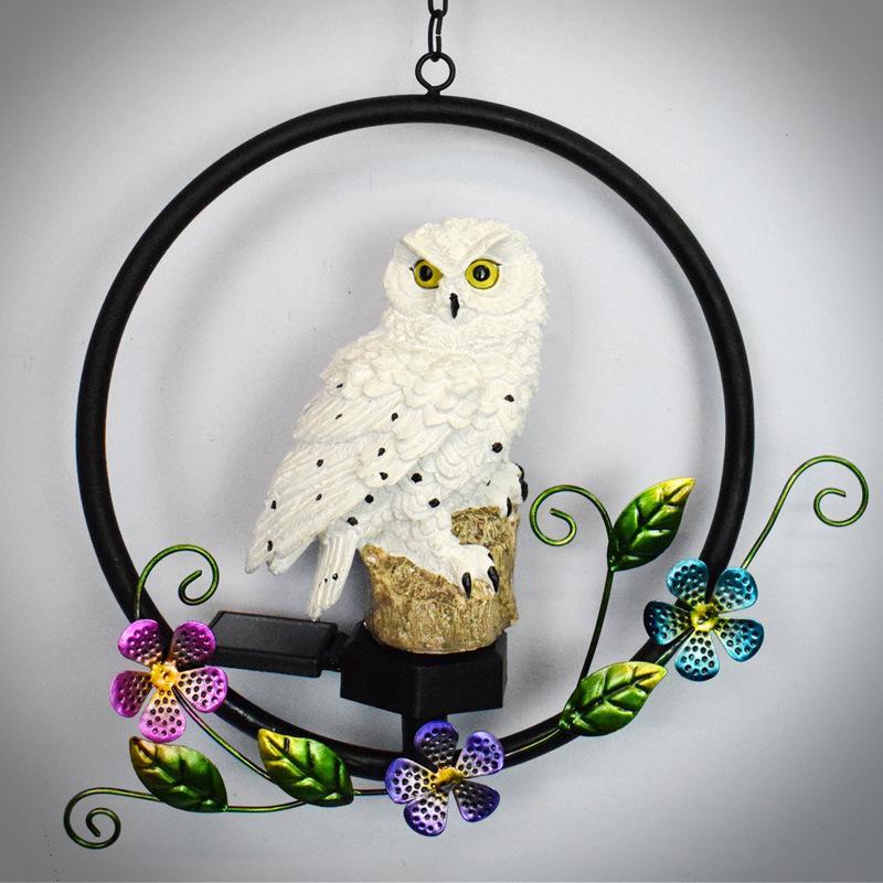 LED  Solar Owl Shape Night Light Hanging Lamp for Courtyard Decoration white