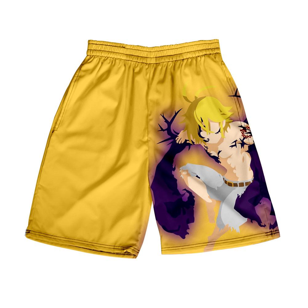 3D Digital Pattern Printed Shorts Elastic Waist Short Pants Leisure Trousers for Man B style_L