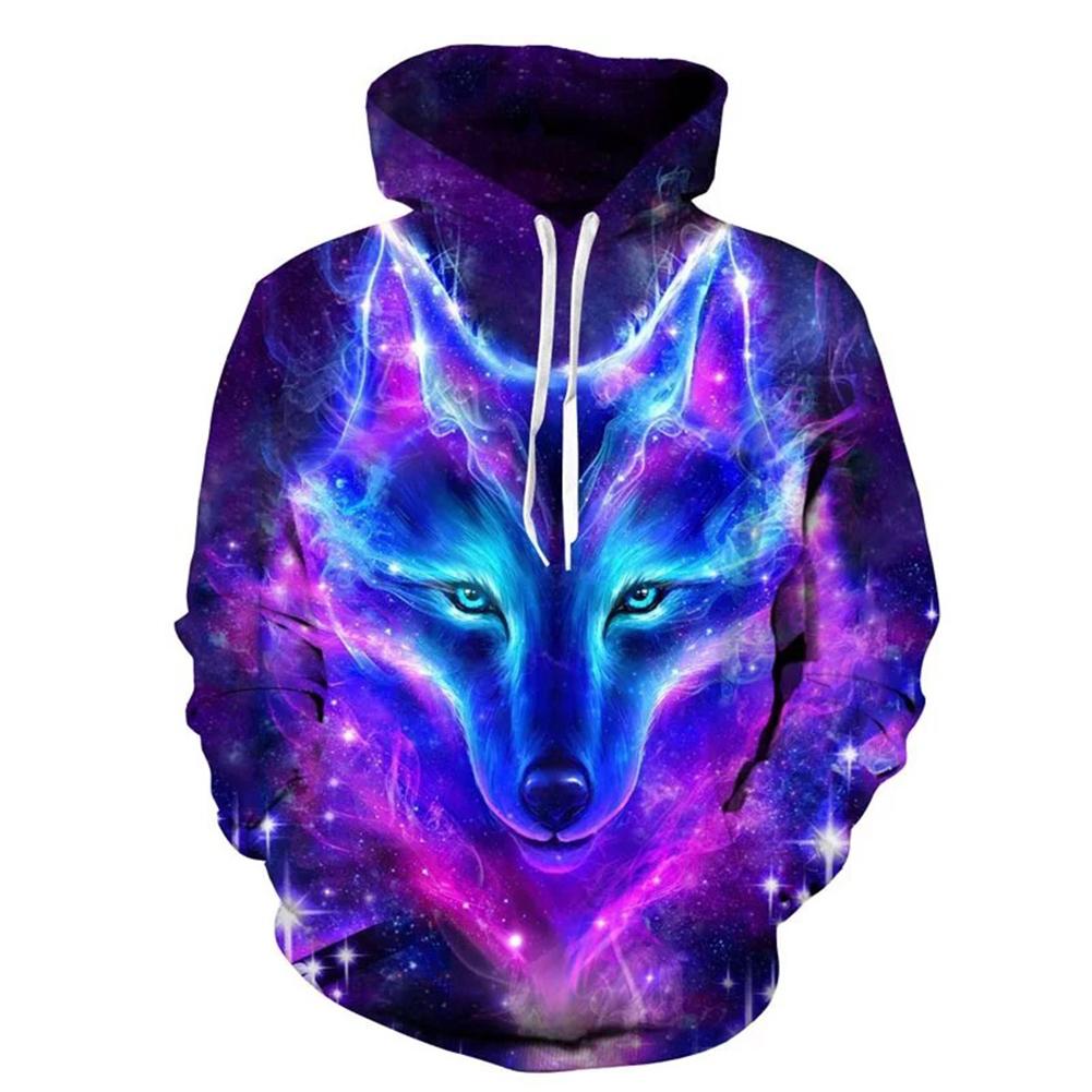 Unisex 3D Starry Sky Fox Pattern Digital Printing Lovers Hoodies fox_L