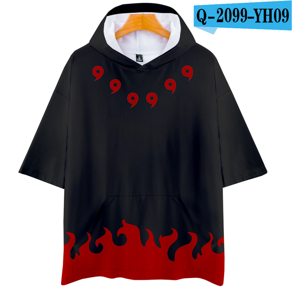 Unisex Fashion Naruto Digital Print 3D Short-sleeved T-shirt Hooded Tops Q-2099-YH09 black_S