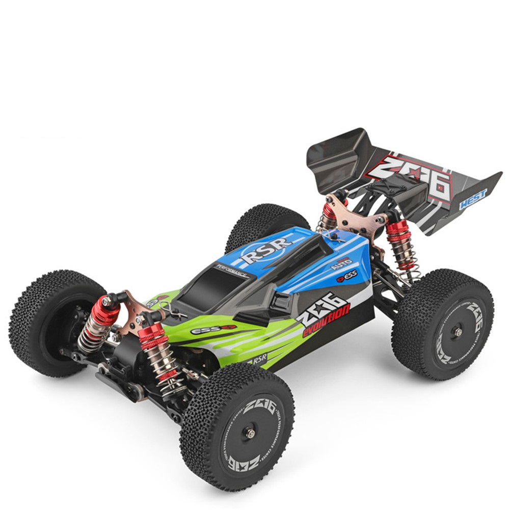 WLtoys 144001 RTR 2.4GHz RC 1/14 Scale Drift Racing Car 4WD Metal Chassis Shaft Ball Bearing Gear Hydraulic Shock Absober green with one battery