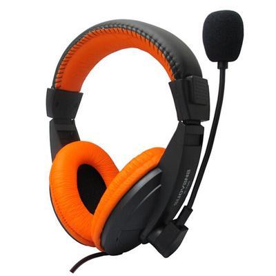 Head-mounted Ergonomics Computer Stereo Gaming Headphone with Microphone Orange