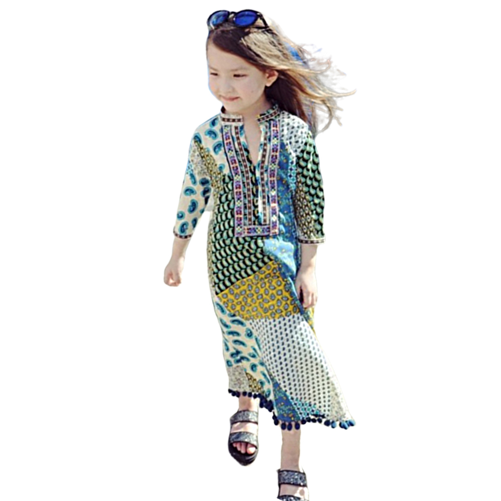Mom and Girl kid Suits Dress Bohemian Seven-Sleeve Long Skirt for Travel  sea blue_130(8-9Y)