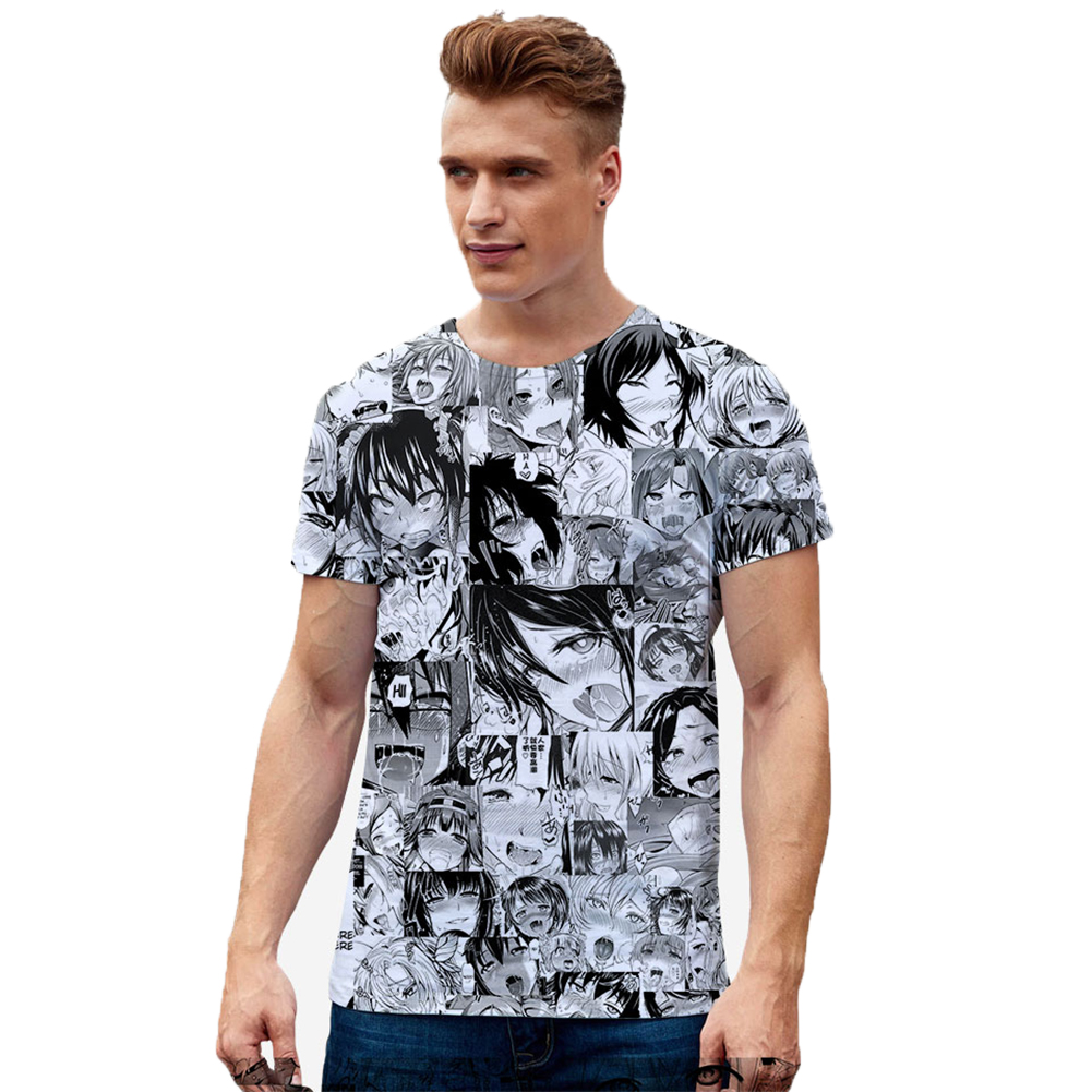 Women Men Ahegao Anime Summer Loose 3D Printing Short Sleeve T-shirt B style_XXL