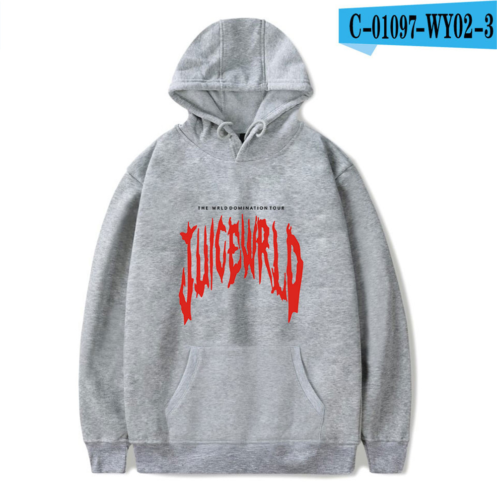 Men Women Hoodie Sweatshirt Juice WRLD Letter Printing Loose Autumn Winter Pullover Tops Grey_L