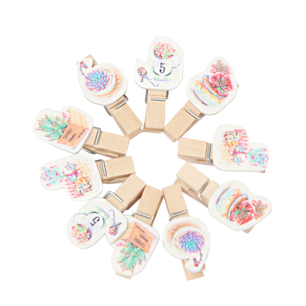 Colorful Cartoon Succulent Plants Wooden Clips for Note Photo Decor