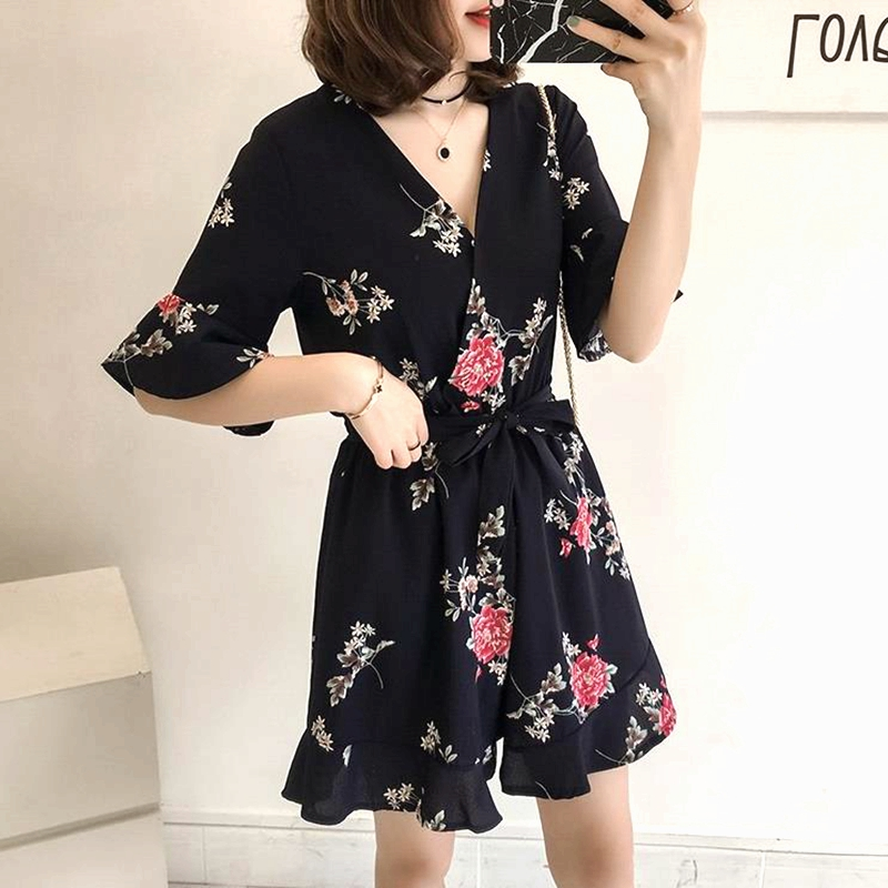 Women Summer Jumpsuits Chiffon Floral Printing Casual Clothes for Beach Vacation blue_XL