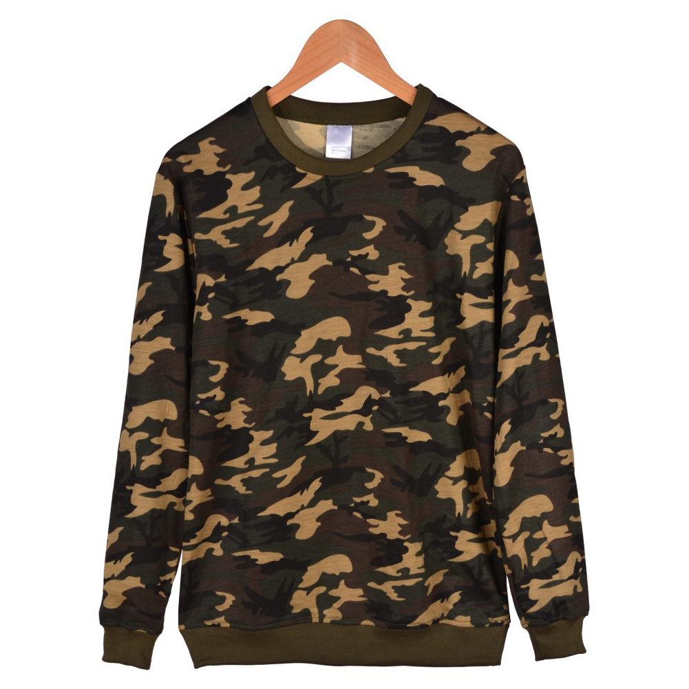 Men Solid Color Round Neck Long Sleeve Sweater Winter Warm Coat Tops camouflage_XXL