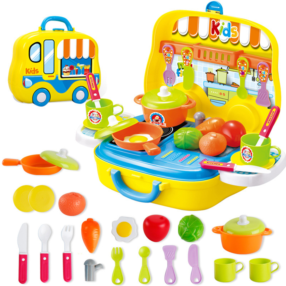 25PCS/Set Children Pretend Toy Simulation Kitchenware Tableware Portable Puzzle Toy yellow