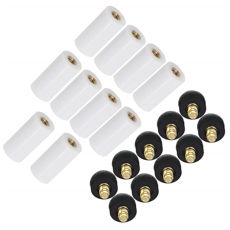10pcs/set Cue Tips Billiard Replacement Screw-on Tips with Pool Cue Stick Ferrules Black and White_12mm