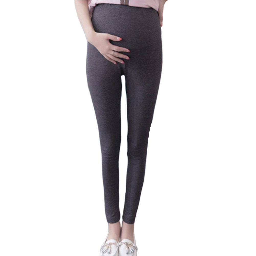 Basic Solid Color Abdomen Support Leggings Trousers for Pregnant Woman  Dark gray_XL