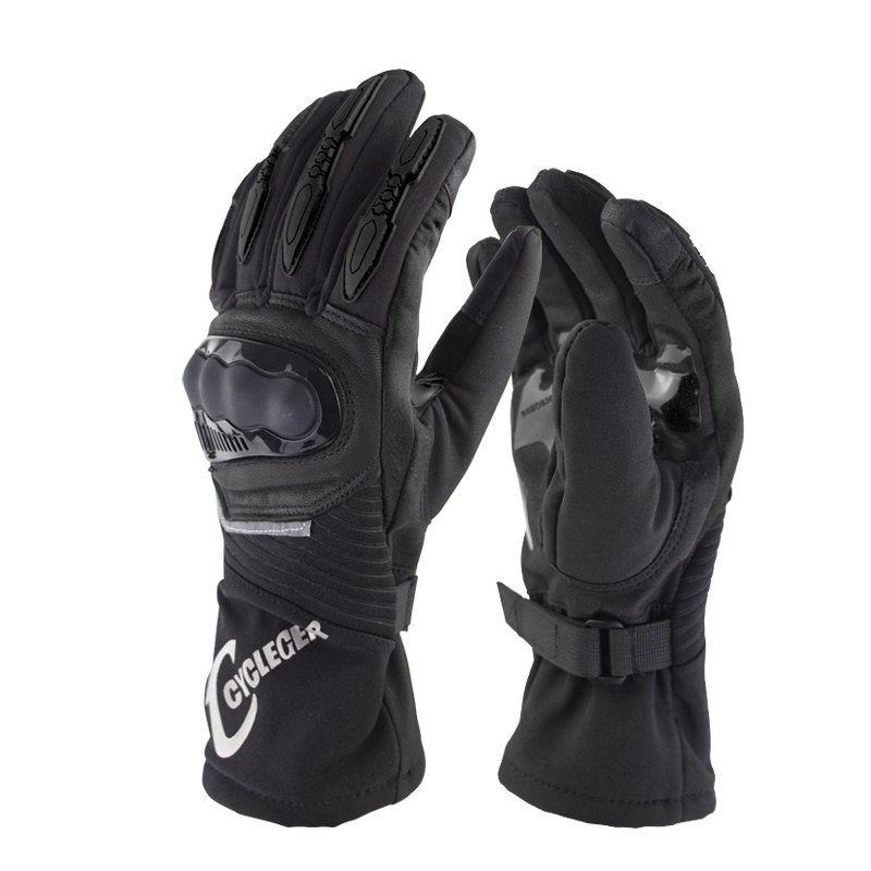 Winter Motorcycle Waterproof Gloves Warm Riding Gloves Full Finger Motocross Glove Long Gloves for Motorcycle black_XL