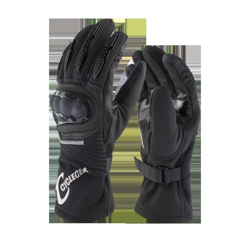 Winter Motorcycle Waterproof Gloves Warm Riding Gloves Full Finger Motocross Glove Long Gloves for Motorcycle black_L