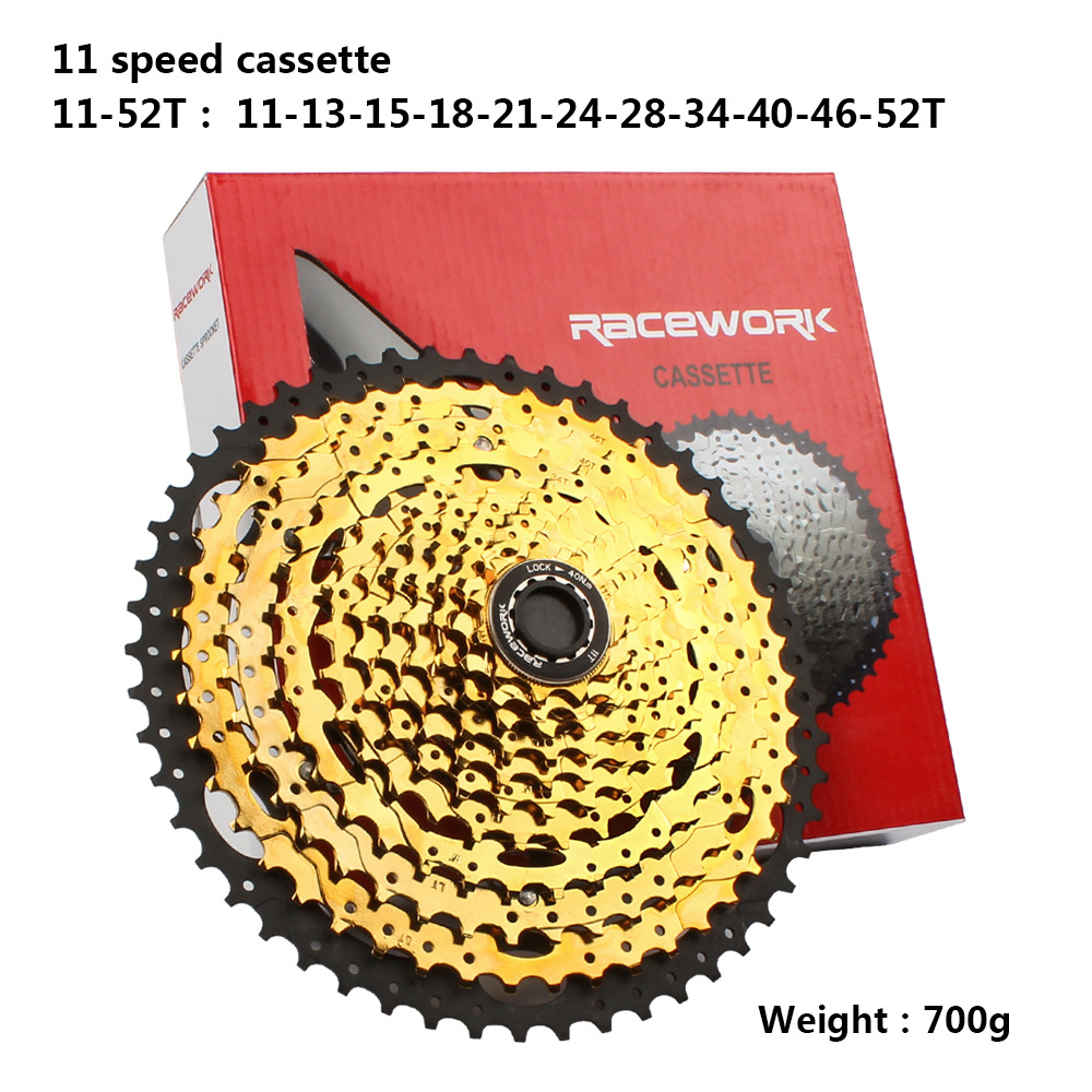 RACEWORK 11-42 11-46 11-50T 11-52T 10/11/12 Speed Mountain Mtb Bike Bicycle Cassette Flywheel Compatible for Sram Shimano 11 speed 11-52T Gold black