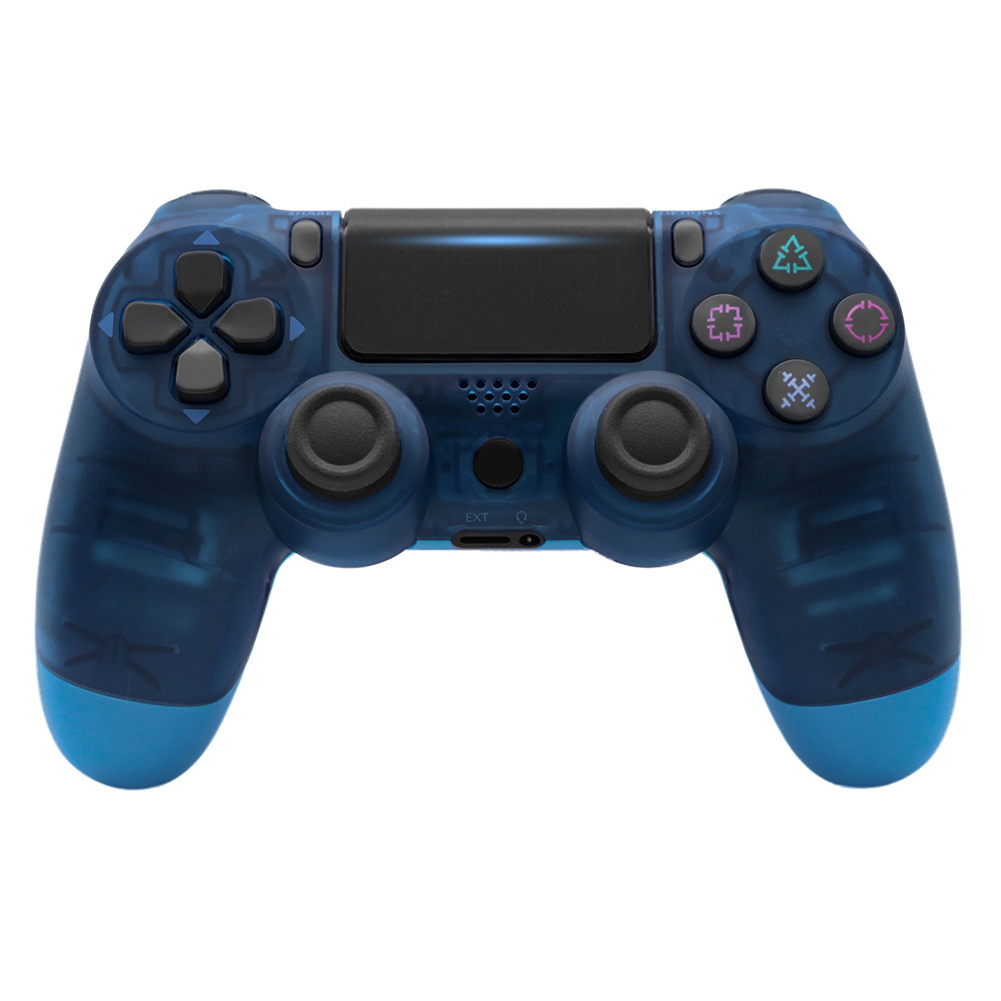 4.0 Wireless Bluetooth Controller Gamepad with Light Strip for PS4 Transparent Blue