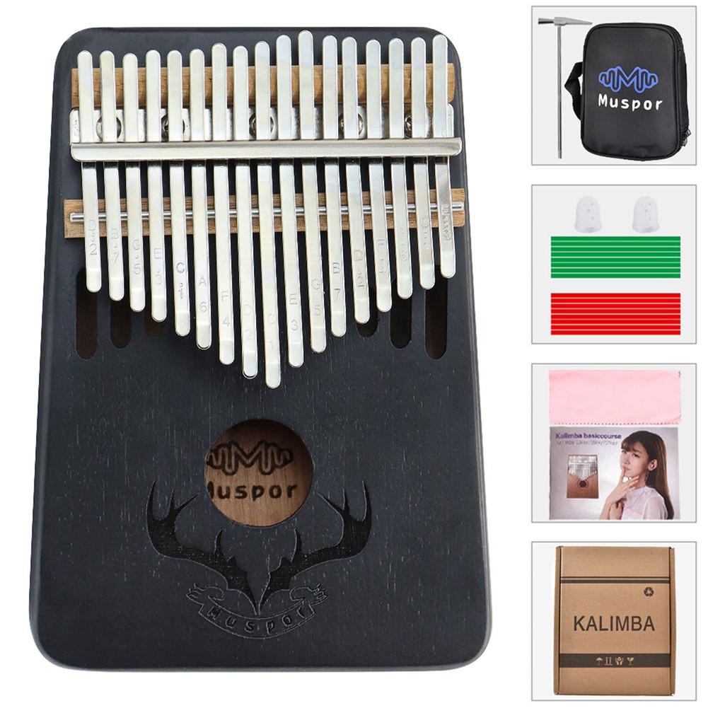 17 Keys Kalimba Portable Thumb Piano Mahogany with Padded Bag Tuner Hammer Musical Instruments black