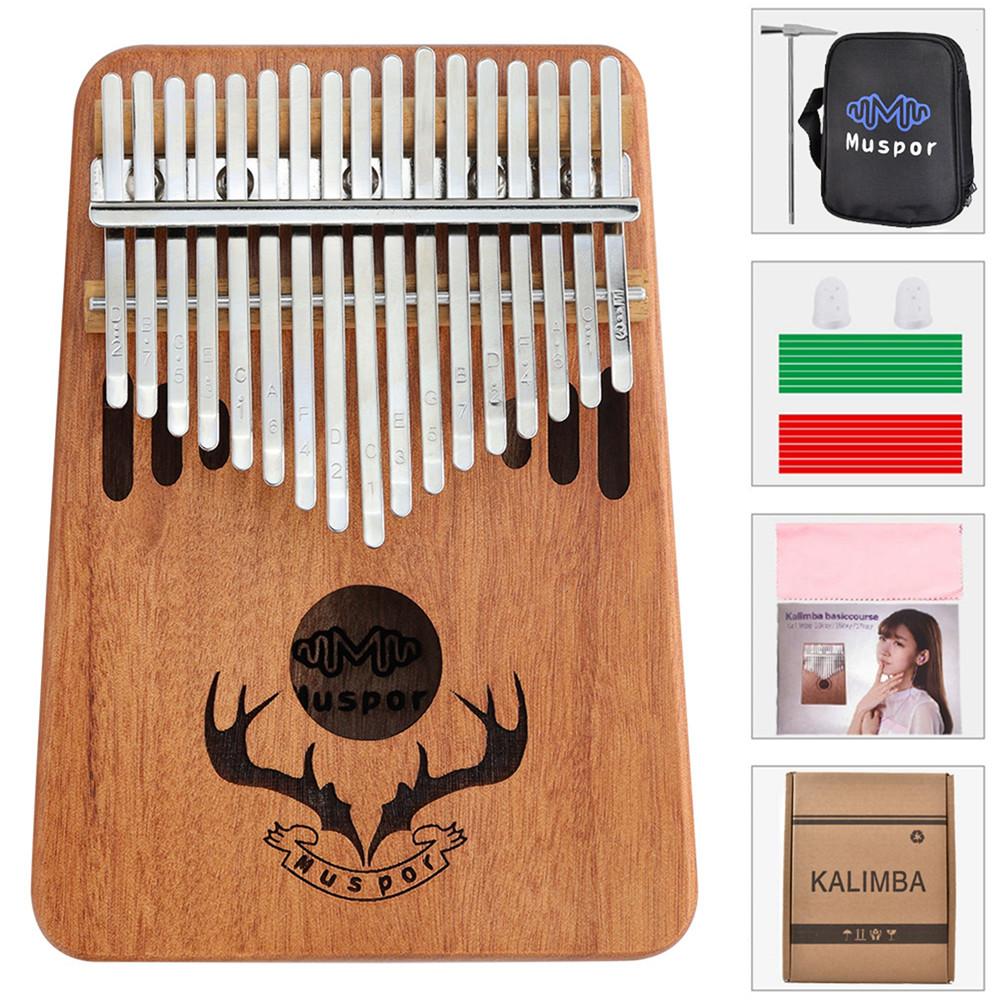 17 Keys Kalimba Portable Thumb Piano Mahogany with Padded Bag Tuner Hammer Musical Instruments Wood color