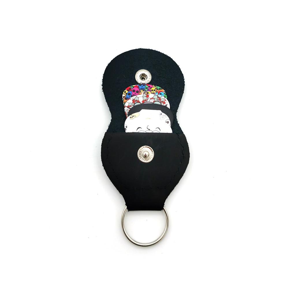 15pcs Gutar Pciks + Leather Keychain Holder Plectrum Pick Gauges 0.46mm/0.71mm/0.81mm/0.96mm/0.12mm Random Color random color