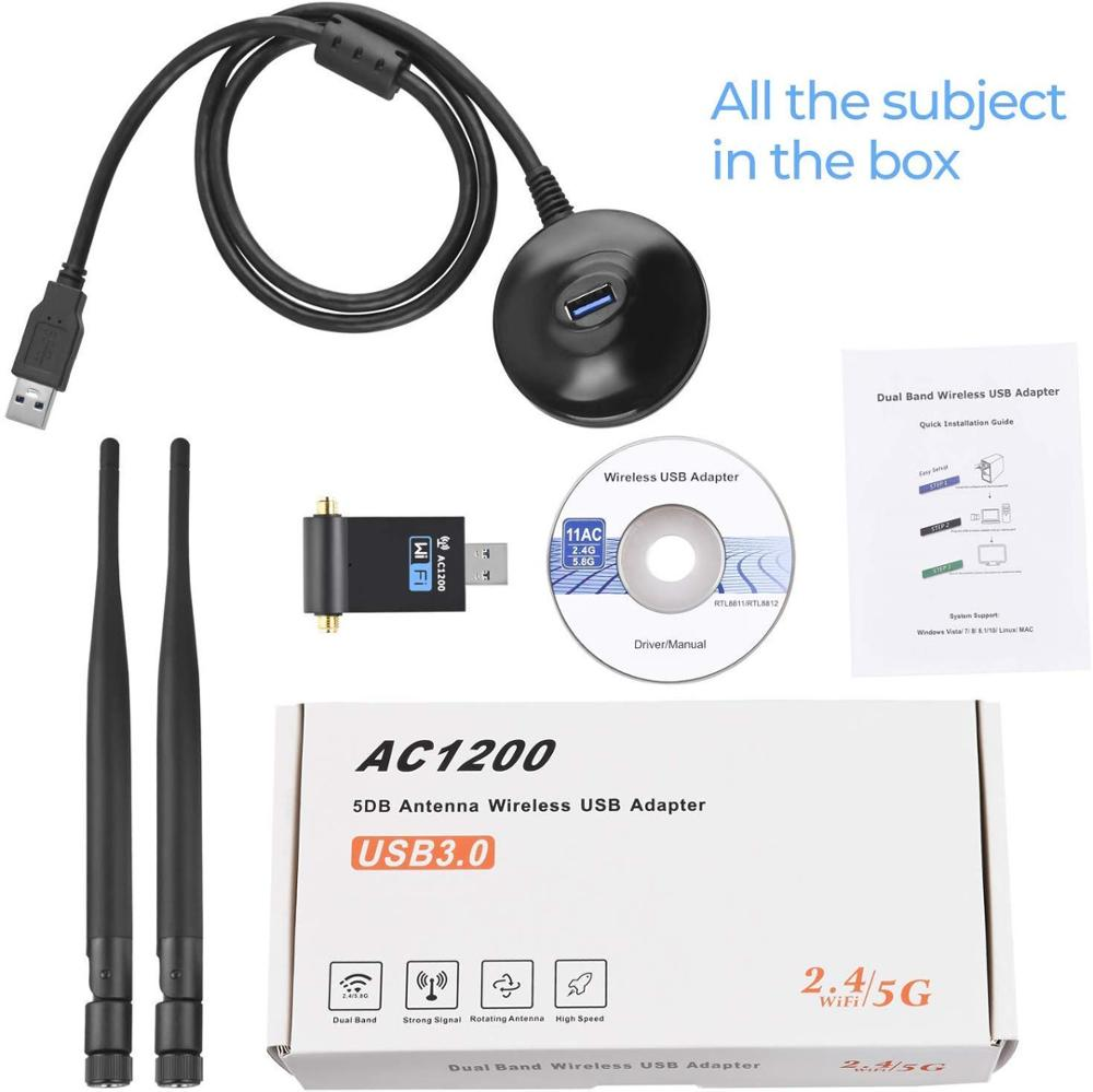 1200Mbps Wireless USB Network Card USB3.0 Dual Band 2.4G/5.8G Wifi Receiver Wireless Adapter black