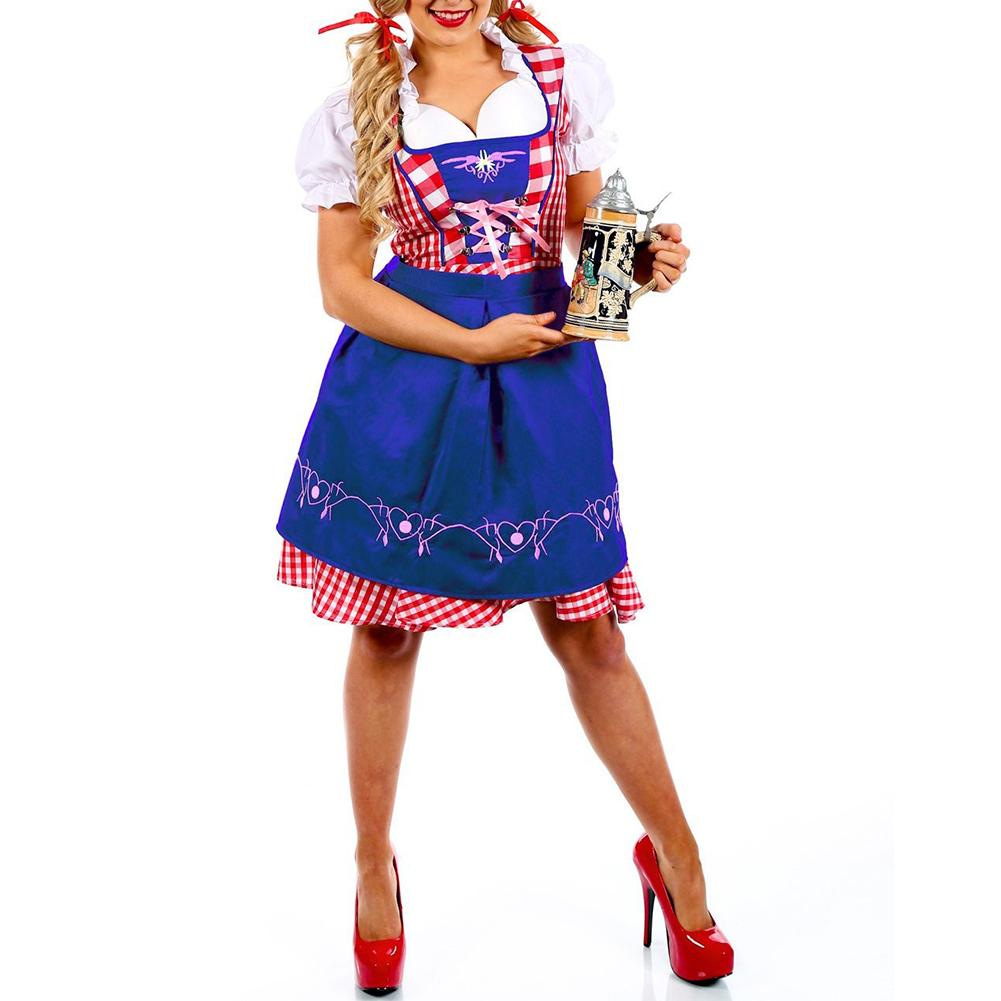 Oktoberfest Costume Bavarian Plaid Dress Halloween Party Maid Costume blue_XL=40