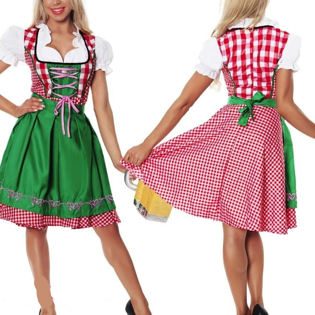 Oktoberfest Costume Bavarian Plaid Dress Halloween Party Maid Costume Bright green_S=34