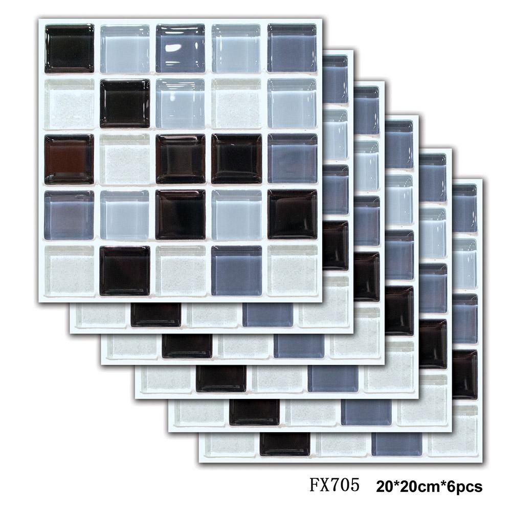6Pcs Waterproof Self adhesive3D Mosaic Tile Pattern Wall Sticker Kitchen Home Decor FX705