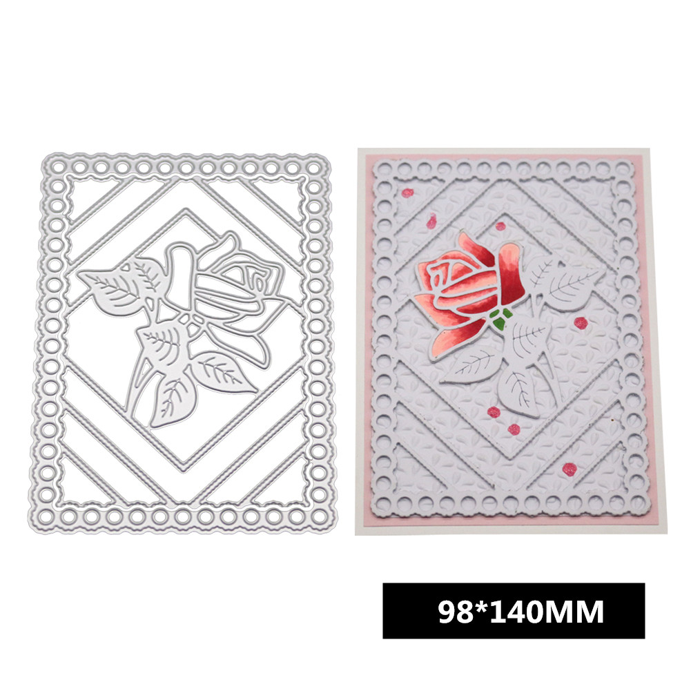 Rose Flower Pattern Etched Carbon Steel Cutting Dies for DIY Scrapbook Background Decor/Invitation Lace/Card 1805082