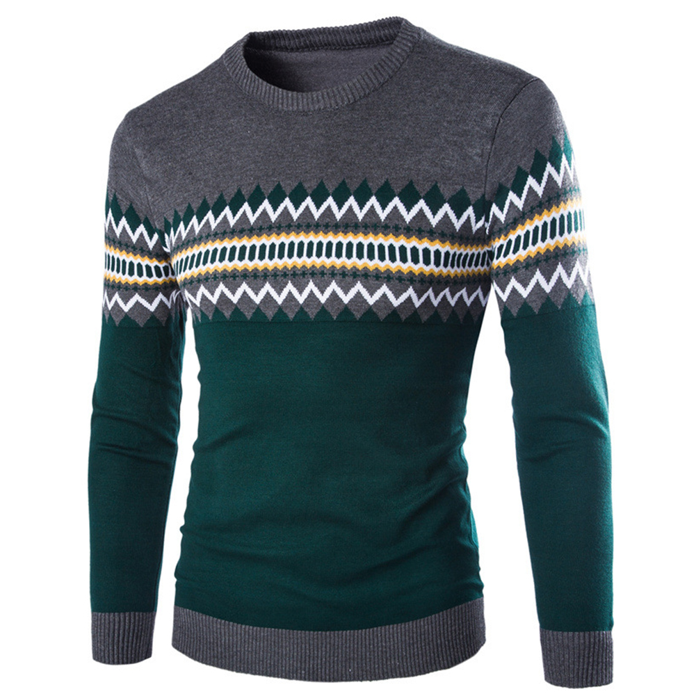 Slim Pullover Long Sleeves and Round Collar Sweater Floral Printed Base Shirt for Man green_L